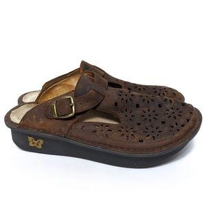 ALEGRIA Breezy Tawny Leather Classic Clogs 38